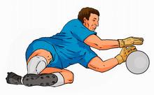 Soccer Goal Keeper Saving Ball