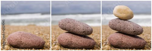 Photo sur Toile Zen pierres a sable triplés