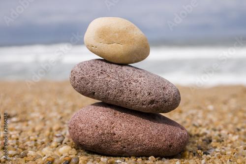 Photo sur Plexiglas Zen pierres a sable un, deux, trois