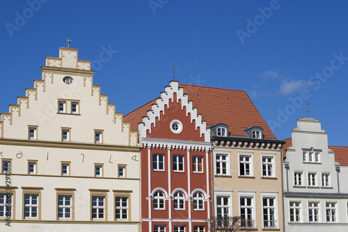 Photo Stands stepped gable houses on a german market place