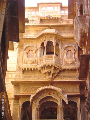 oriental house with balcony, jaisalmer, india