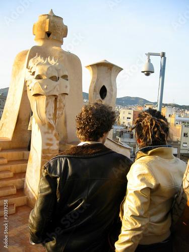 couple on top of la pedrera/ casa mila - antoni ga Canvas Print