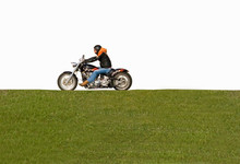 Isolated Man On Motorcycle Bik...