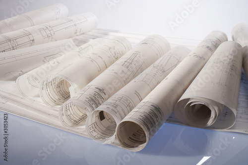 rolled-up engineering drawings Canvas-taulu