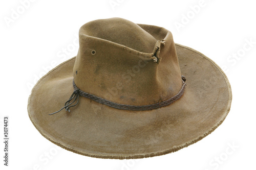 Photo battered old cowboy hat
