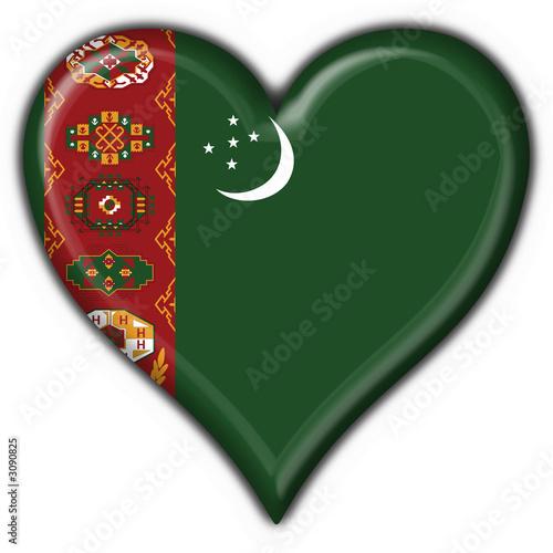 bottone cuore turkmenistan button heart flag Canvas Print