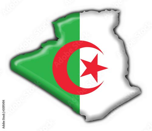 Poster Algérie bottone cartina algerina - algeria button map flag