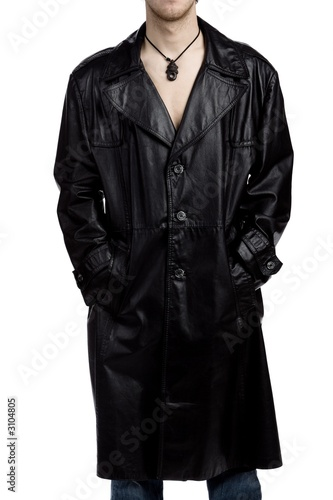Canvas Print Exhibitionist in a leather jacket