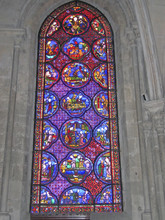 A Blue And Red Stained Glass W...