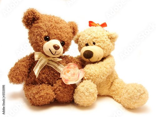couple of teddy-bears & rose #3133898