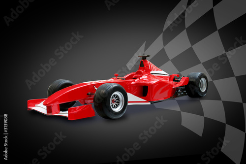 Tuinposter F1 red formula one car and racing flag