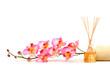 Leinwandbild Motiv pink orchid and fragrance sticks