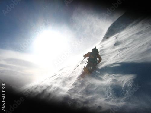 Poster de jardin Alpinisme tempête en montagne