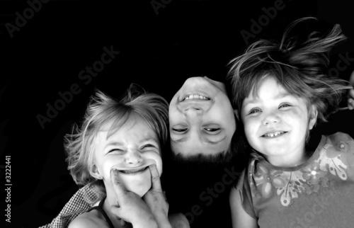 Photo  three kids in black and white