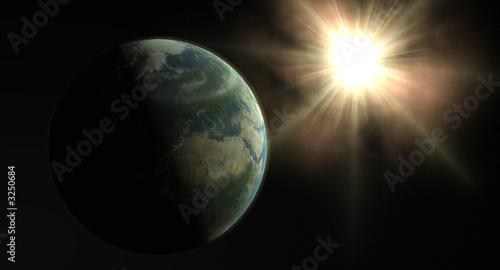 Photo earth and sun