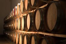 Oak Barrels Maturing Red Wine And Brandy