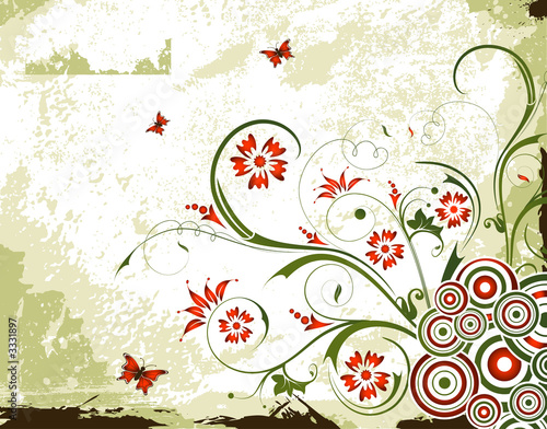 Montage in der Fensternische Schmetterlinge im Grunge grunge floral background