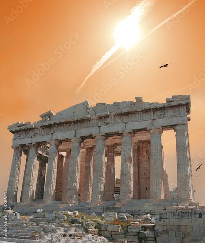Foto-Flächenvorhang - shooting star over the acropolis (von David H. Seymour)
