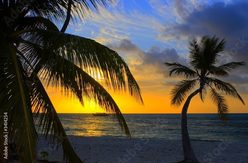 Foto-Schiebegardine Komplettsystem - sunset in the indian ocean