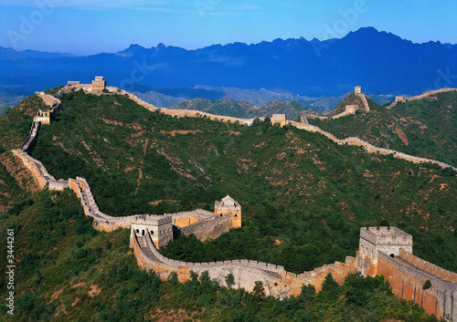 Montage in der Fensternische Chinesische Mauer the great wall