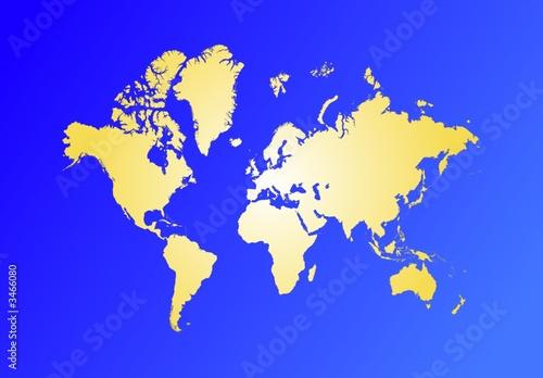 Türaufkleber Weltkarte yellow toned world map