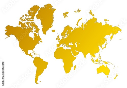 Foto op Canvas Wereldkaart detailed orange gradient map of the world