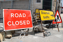 British Roadworks With Road Closed And Diverted Tr