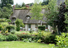 Timber Framed Thatched Normandy House And Cottage Garden
