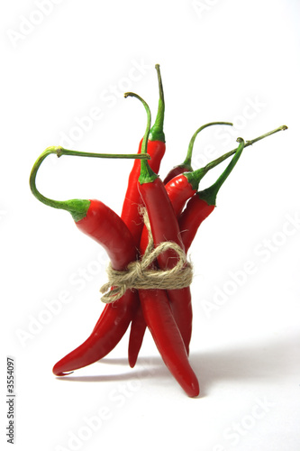 Fotografie, Obraz  bunch of red hot chilli pepper, tied by rope