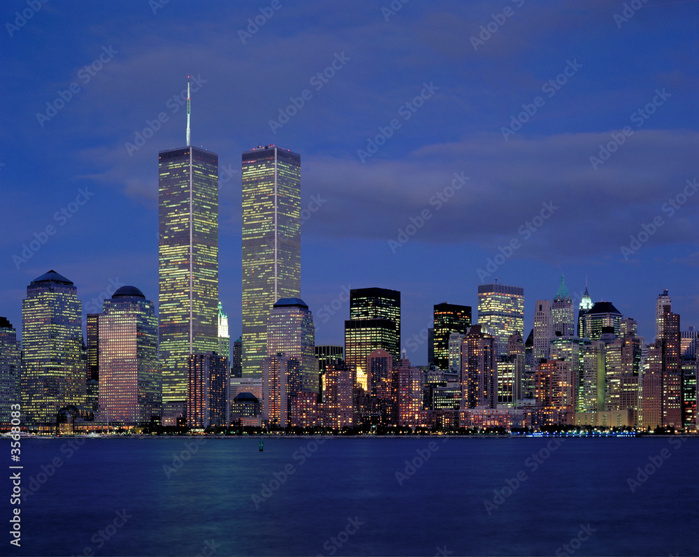 Fototapety, obrazy: New-York city and World Center at night from Hudson river
