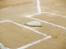Home Plate And Chalk Lines On A Baseball Diamond