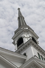 A Typical New England Church Spire In Montpelier Vermont