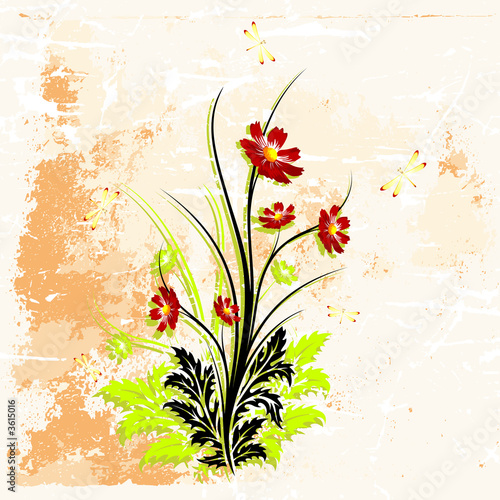 grunge background with flowers vector illustration