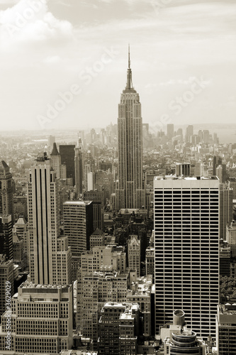 Manhattan panorama in sepia
