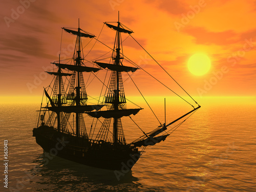 tall-ship-at-sunset-3d-render