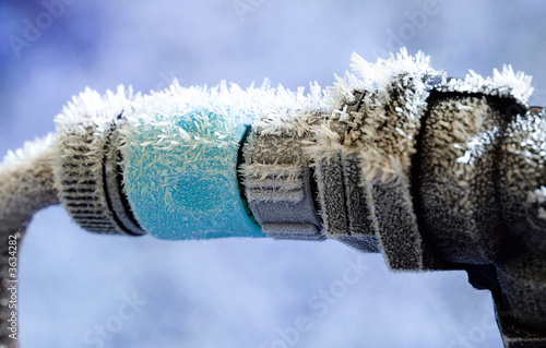 Photo Frozen Garden Hose and water pipe connection