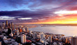 canvas print picture Sunset over City of Seattle