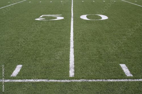 Fotografia, Obraz  50 yard line on an American football field.