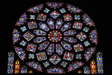 Rose Stained Glass Window In Chartres, France