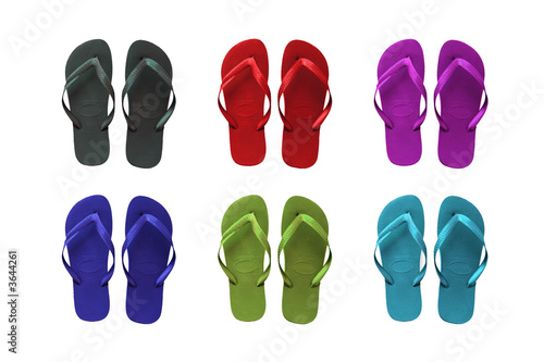 454d6f0a0 Set of six colored flip-flop beach sandals - Buy this stock photo ...