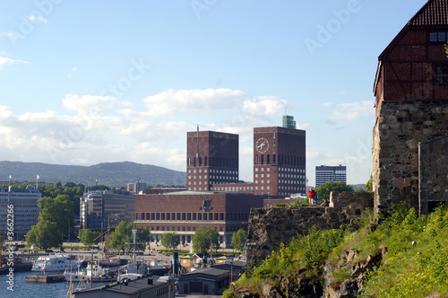 Photo  Oslo city hall seen from Akershus fortress