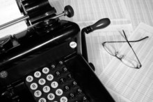 Vintage Adding Machine & Glasses (Black & White)