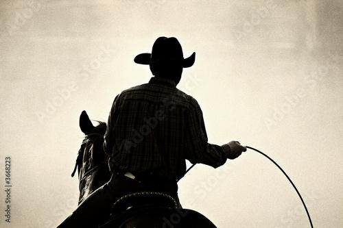 Cuadros en Lienzo cowboy at the rodeo - shot backlit against dust, added grain