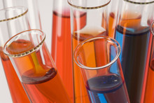 Close-up Of Test Tubes With Colorful Liquids