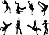 hip hop and dancing silhouettes