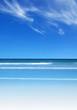 A clear beach and blue sky