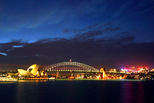 Sydney Opera House And Harbour Bridge At Night..