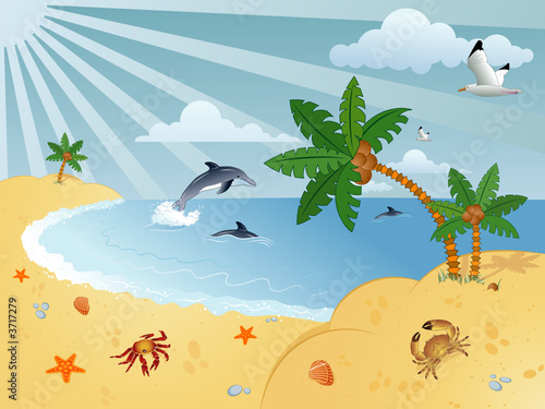 Foto-Stoff - Detailed summer background with palm tree, vector (von TAlex)