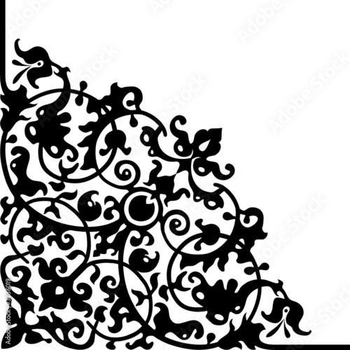Vector scrolled corner design with abstract flower patterns - Buy