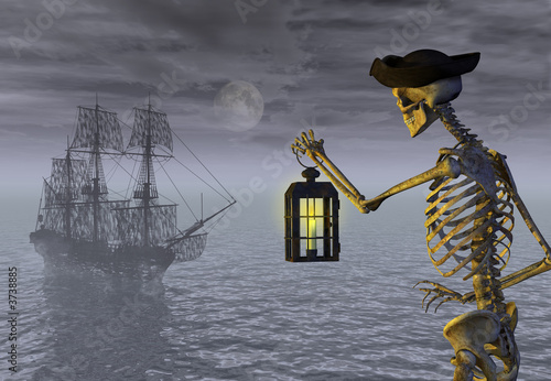 Fotografie, Obraz  Skeleton Pirate with Ghost Ship